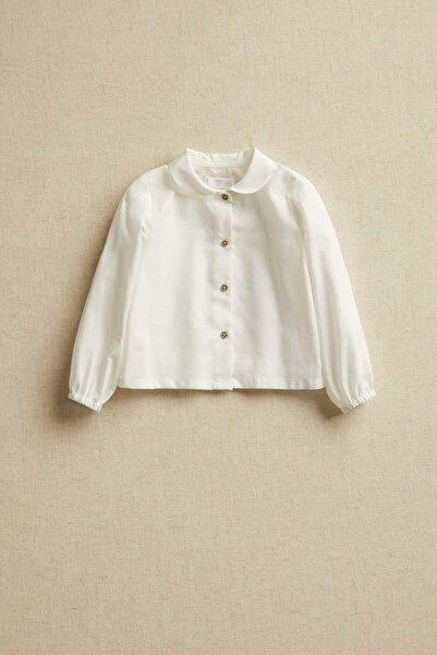 MANGO Baby Kırık Beyaz Unisex Bebek Yakalı Organik Pamuklu Gömlek