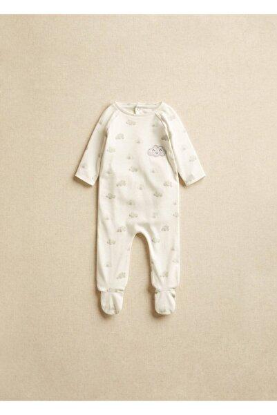 MANGO Baby Bebek Organik Pamuklu Baskılı Çıtçıtlı Badi