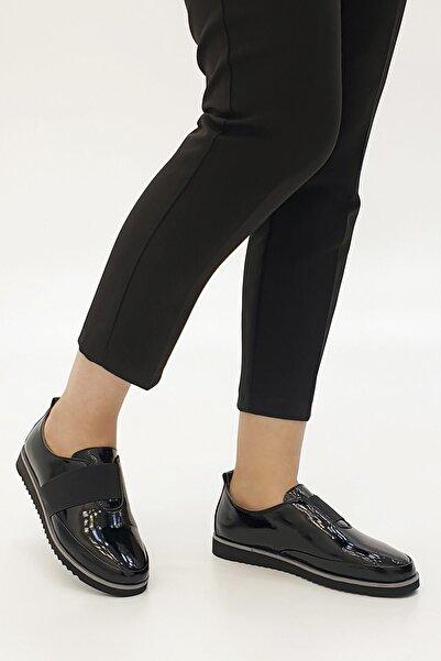Marjin Siyah Rugan Kadın Burlas Hakiki Deri Comfort Ayakkabı 19K0014TP8009-1