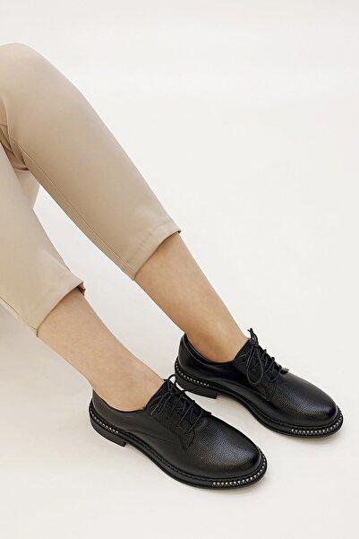 Marjin Siyah Kadın Adef Günlük Oxford Ayakkabı 19K0034MC82