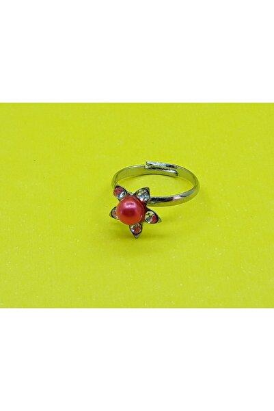 Özel Yapım Trendyıldızı Kırmızı Taşlı Çiçekli Kız Çocuk Yüzüğü