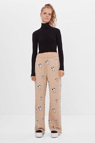 Bershka Kadın Kahverengi Geniş Paça Pantolon