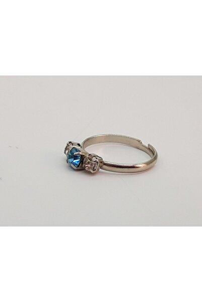 Trendyıldızı Açık Mavi Üç Taşlı Çocuk Yüzüğü
