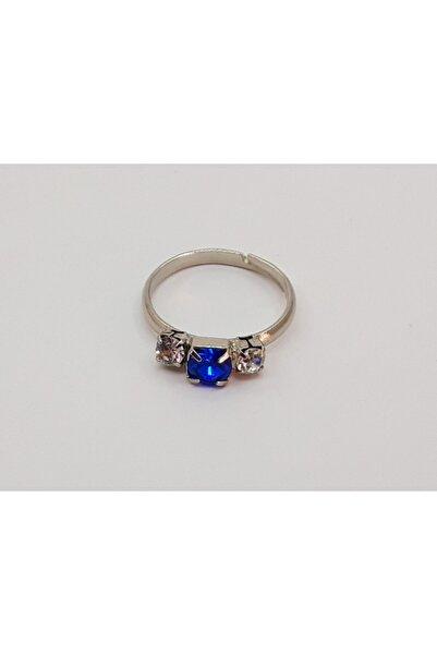 Özel Yapım Trendyıldızı Parlament Mavisi Üç Taşlı Kız Çocuk Yüzüğü