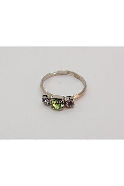 Özel Yapım Trendyıldızı Zümrüt Yeşili Üç Taşlı Kız Çocuk Yüzüğü