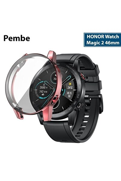 HONOR Watch Magic 2 46mm 360 Koruma Ultra Ince Silikon Kılıf - Pembe