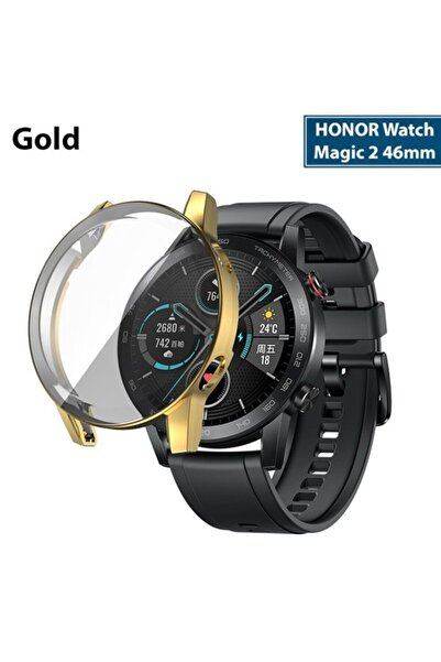 HONOR Watch Magic 2 46mm 360 Koruma Ultra Ince Silikon Kılıf - Gold