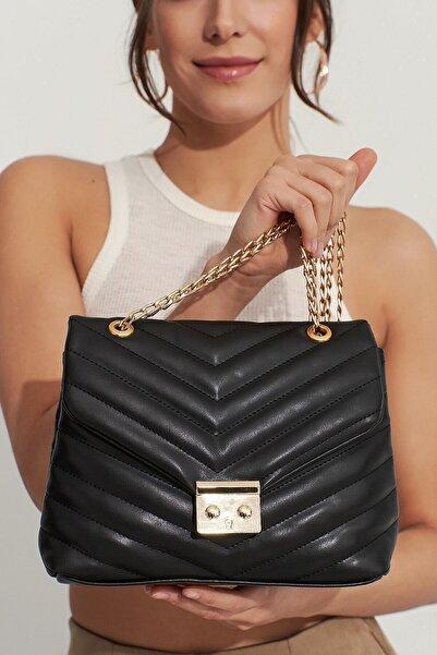 Elegant Kurtuluş Çanta Bayan Çanta Siyah Zincir Detaylı