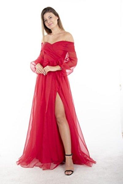 Kırmızı Kayık Yaka Yırtmaçlı Abiye & Meznuiyet Elbisesi 1301583