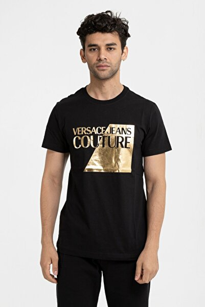 VERSACE JEANS COUTURE Erkek Siyah Jersey T.mouse 68 Slim Fit T-shirt