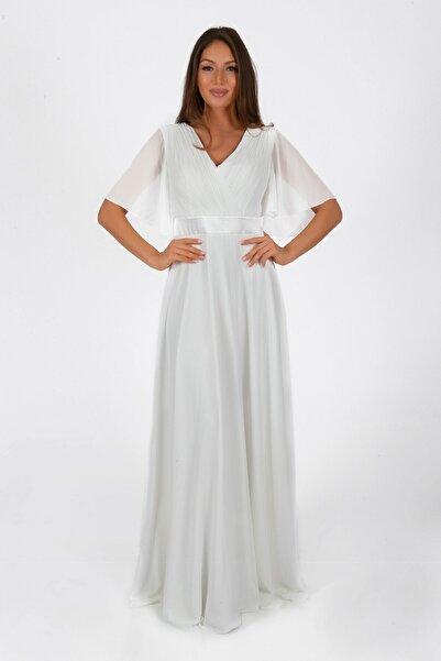 Pierre Cardin Kadın Ekru Şifon Piliseli Uzun Abiye Elbise