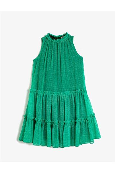 Koton Kız Çocuk Yeşil Bisiklet Yaka Geometrik Desenli Şifon Elbise