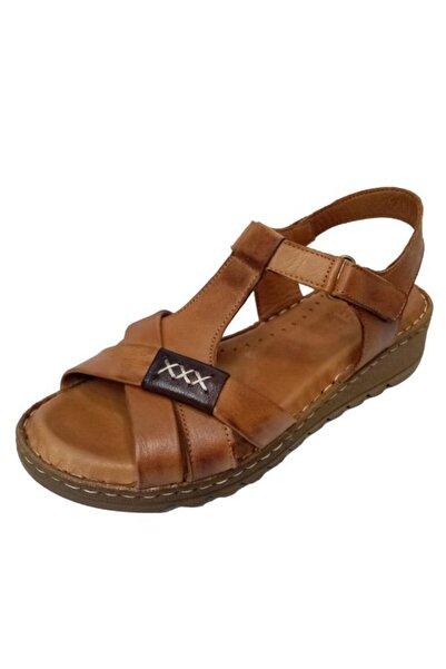 Nehir Kadın Kahverengi  Hakiki Deri Ortopedik Sandalet