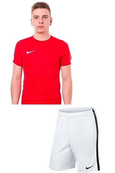 Nike Erkek Beyaz  Kırmızı M Nk Dry Park18 Cepsiz Şort Tişört