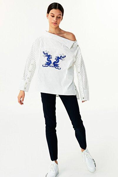 Twist Kadın Beyaz Nakışlı Gömlek TW6200025070002