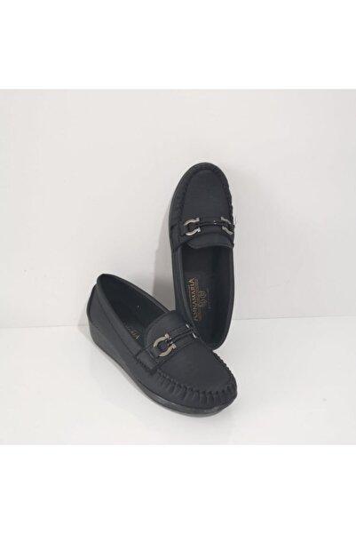 Annamaria Gezer Ortopedik Tokalı Dolgu Topuk Bayan Ayakkabı Siyah
