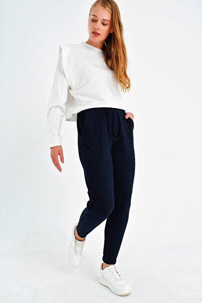 Trend Alaçatı Stili Kadın Lacivert Paçası Lastikli İki İplik Eşofman Altı ALC-Y2933