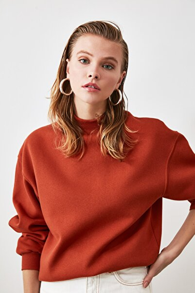 Kiremit Dik Yaka Örme Sweatshirt TWOAW20SW0584