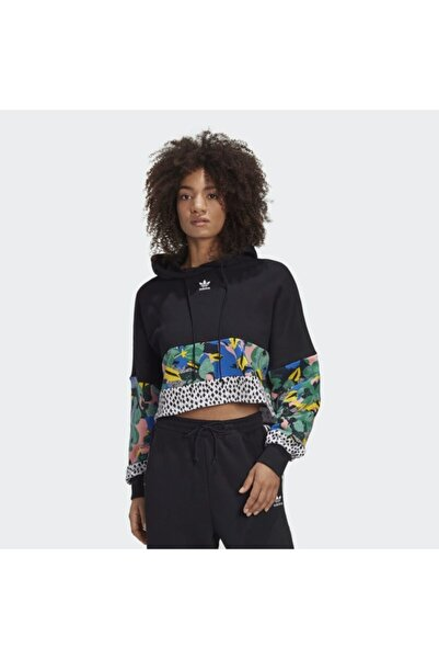 adidas Cropped Kadın Siyah Kapüşonlu Sweatshirt