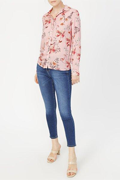 RANDOM Kadın Pembe Çiçek Desenli Gömlek