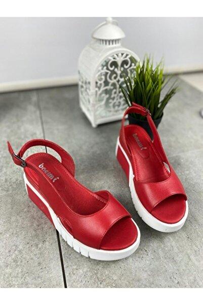 Bella Kadın Kırmızı Yeni Sezon Deri Sandalet