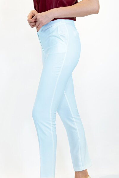 Lefon Kadın Bebe Mavi Dar Kesim Cepli Pantolon
