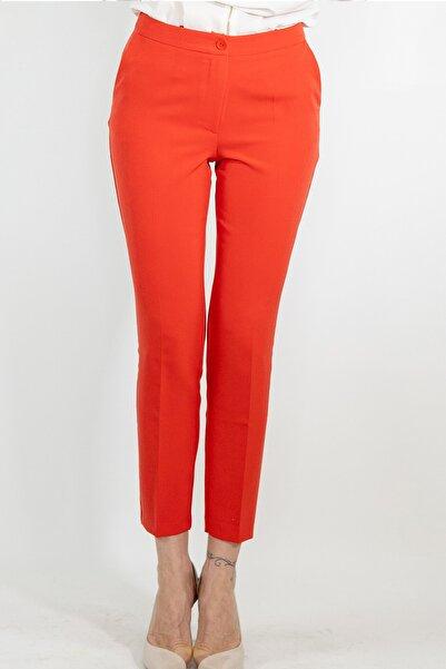 Lefon Kadın Kırmızı Dar Kesim Cepli Pantolon