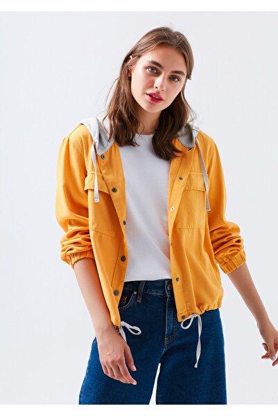 Mavi Kadın Sarı Kapüşonlu Gömlek