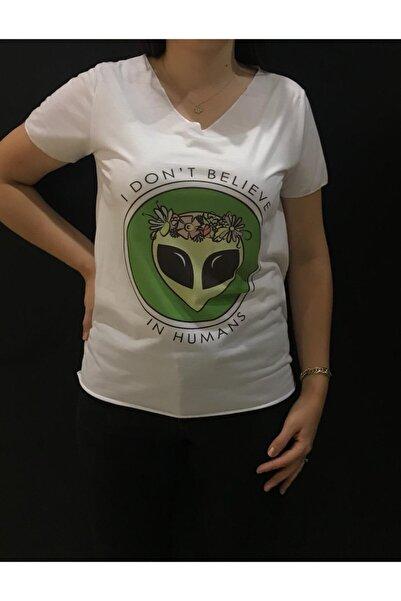 Panda Unisex Beyaz Alien Baskılı T-shirt