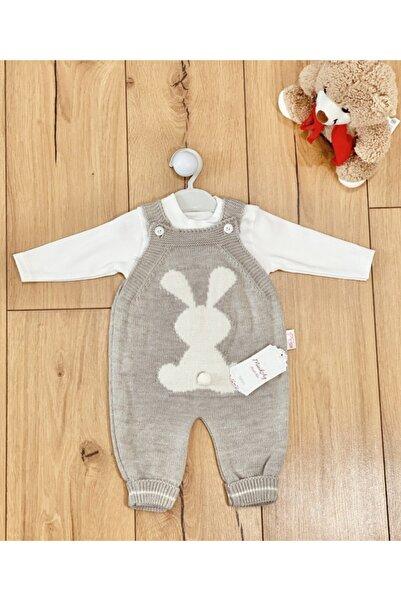 minik ay Unisex Bebek Taş Rengi Badili Tavşan Baskılı Triko Takım