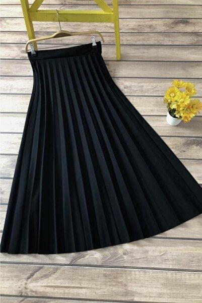 Ekru Store Kadın Siyah Piliseli Uzun Etek