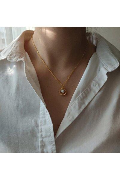 ms merijewelry Altın Kaplama Çift Taraflı Incili Istiridye Kolye