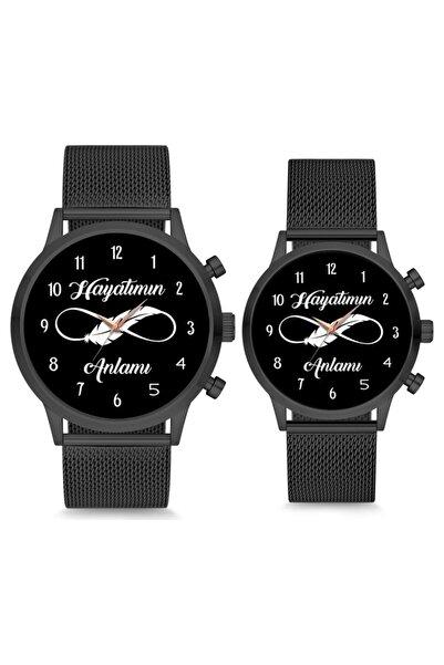WatchArt Sevgili Saati Hayatımın Anlamı Siyah Çift Kol Saati Sevgililer Günü
