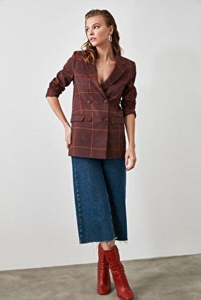 Bordo Ekose Oversize Blazer Ceket TOFAW19AA0148