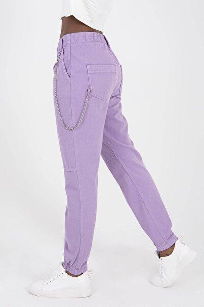 Addax Kadın Lila Zincir Detaylı Pantolon PN3974 -  PNİ ADX-0000022928