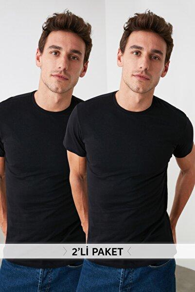 Siyah Erkek 2'li Basic Paket Slim Fit T-Shirt TMNSS19BO0071