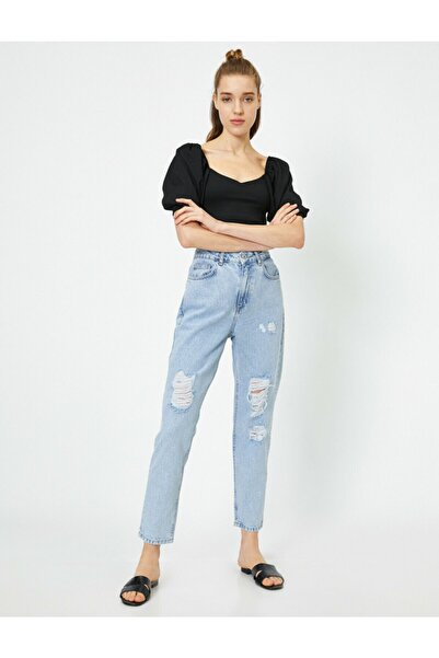 Koton Kadın Mavi Pamuklu Yüksek Bel Mom Jeans