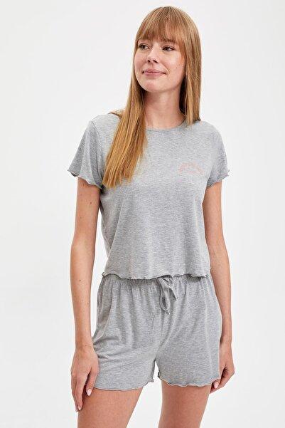DeFacto Kadın Grey Relax Fit Pijama Takımı S2592AZ20AU