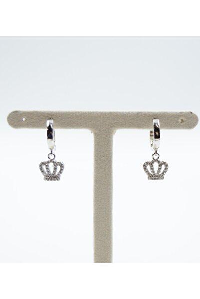 Swaroski Taç Desenli Zirkon Taşlı 925 Ayar Gümüş Kadın Küpe