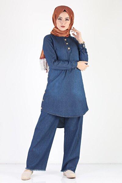 Düğmeli Kot Tunik Pantolon Takımı Tsd1041k Mavi