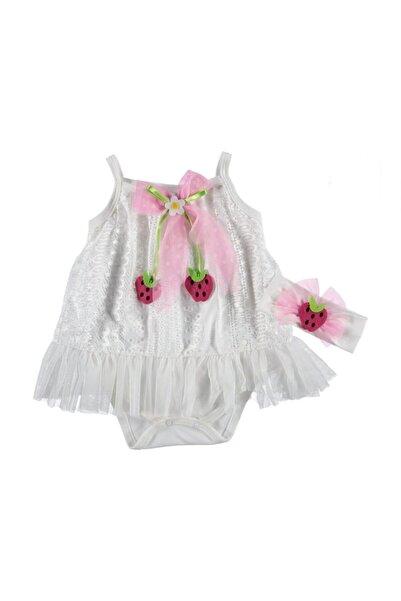 Rico Kız Çocuk Beyaz Çilek Elbise