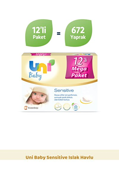 Uni Baby Sensitive Islak Havlu - 12'li Fırsat Paketi
