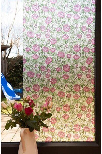 Alkor 380-0107 Çiçek Desenli Cam Vitray Folyo (45cm X 1mt)