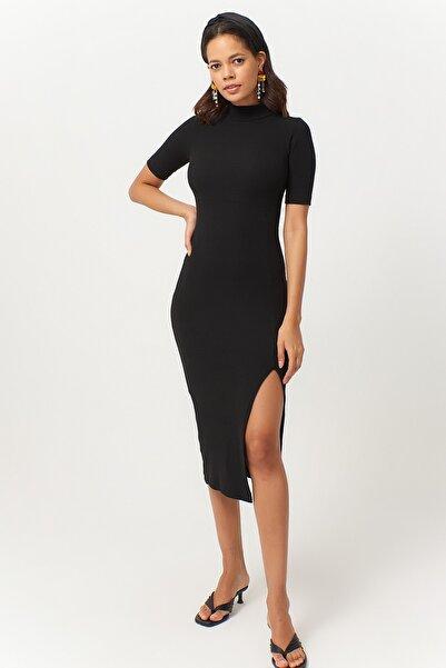 Cool & Sexy Kadın Siyah Yırtmaçlı Kaşkorse Elbise EY1020