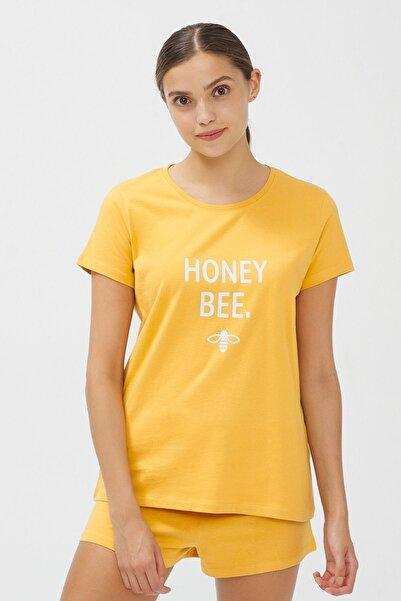 Penti Kadın Sarı Honey Bee SS Şortlu Pijama Takımı