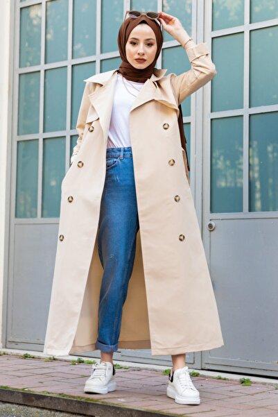 MİNT ATLAS Kadın Taş Rengi Klasik Trençkot
