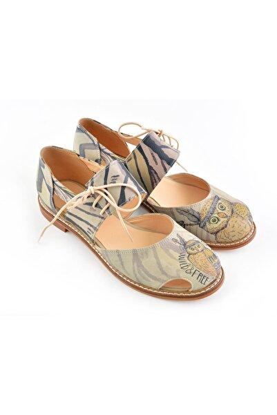 Goby Kadın Bej  Baskılı - El Yapımı- Kadın Sandalet - Ayakkabı