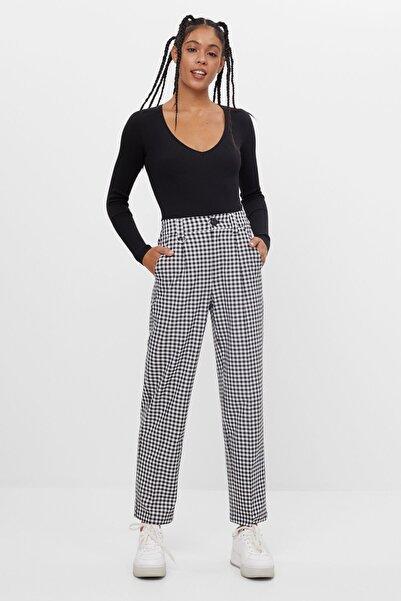 Bershka Kadın Beyaz Crop Straight Fit Pantolon