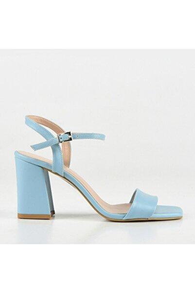 Hotiç Kadın Açık Mavi Hakiki Deri Topuklu Sandalet