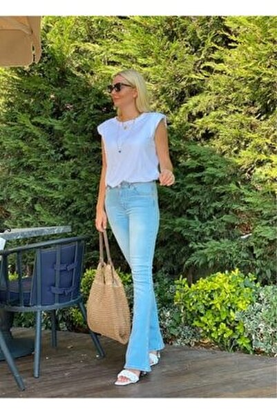 Kadın Buz Mavi İspanyol Paça Pantolon